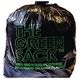 The Green Sack Light Duty Refuse Sacks / Under 10kg Capacity / 457x737x965mm / Black / Pack of 200