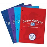 Image of Oxford Campus Refill Pad Ruled & Margin 90gsm 300pp A4 Assorted Ref 400033050 [Pack 3]