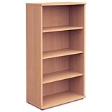 Trexus Medium Tall Bookcase / 3 Shelves / 1600mm High / Beech