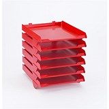 Image of Avery Paperstack Self-stacking Letter Tray / A4 / W250xD320xH300mm / Red / Pack of 6