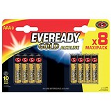 Image of Eveready Gold Alkaline Batteries AAA/LR03 Ref E300692200 [Pack 8]