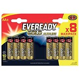 Image of Eveready Gold Alkaline Batteries AA/LR6 Ref E300691700 [Pack 8]