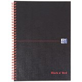 Image of Black n' Red Hardback Wirebound Notebook / B5 / Ruled with Margin / 140 Pages / Pack of 5