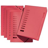 Image of Pagna Classic Elasticated Files / 6-Part / A4 / Red / Pack of 5