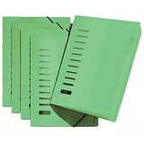 Pagna Classic Elasticated Files / 6-Part / A4 / Green / Pack of 5