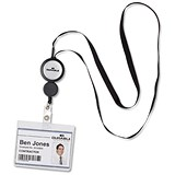 Image of Durable Badge Reel & Retractable Necklace / Black / Pack of 10
