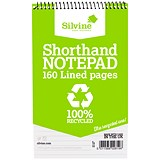 Image of Silvine Recycled Wirebound Shorthand Notepad / 125x200mm / Ruled / 160 Pages / Pack of 12