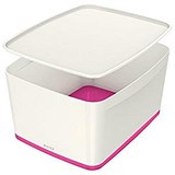 Image of Leitz MyBox Plastic Storage Box with Lid / Large / White & Pink