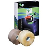 Extra Large Packing Tape with Dispenser / 48mm x 150m / Brown & Clear / Pack of 36