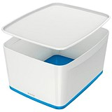 Image of Leitz MyBox Plastic Storage Box with Lid / Large / White & Blue