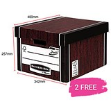 Image of Fellowes Premium 725 Classic Bankers Box / Woodgrain / 12 For The Price of 10