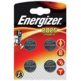 Image of Energizer Lithium Battery CR2025 3V Ref E300520500 [Pack 4]