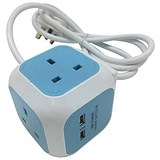 Cube Extension Lead with 4 Sockets 13amp 2 USB Slots 1.4 Meter Cable Blue