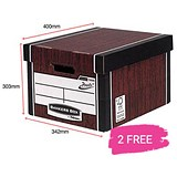 Image of Fellowes Premium 726 Tall Bankers Box / Woodgrain / 12 For The Price of 10