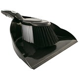Image of Dustpan & Brush Set - Black & Chrome