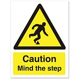 Image of Stewart Superior Caution Mind The Step Sign Self Adhesive Vinyl 150x200mm Ref WO131SAV