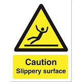 Image of Stewart Superior Caution Slippery Surface Sign Self Adhesive Vinyl 150x200mm Ref WO134SAV