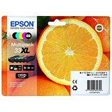 Epson T33XLInkjetCart OrangeHYBlack12.ml/PhotoBlack 8.1ml/Cyan/Mag/Yellow 8.9ml Ref C13T33574010 [Pack 5]