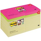Post-It Super Sticky Notes / 76x76mm / Yellow / Pack of 14 + 4 Colour Pads