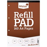Image of Silvine Headbound Refill Pad / A4 / Punched & Perforated / Ruled / 160 Pages / Pack of 6