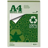 Image of Silvine Everyday Recycled Refill Pad / A4 / Ruled with Margin / 160 Pages / Pack of 6