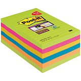Image of Post-it Super Sticky Notes / 101x152mm / Bright Rainbow / Pack 6 x 90 Notes