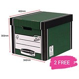 Image of Fellowes Premium 726 Tall Bankers Box / Green & White / 12 For The Price of 10