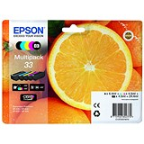 Epson T33 Inkjet Cart Orange Blk 6.4ml /Cyan/Magenta/Yellow/PhotoBlk 4.5ml Ref T33374010 [Pack 5]