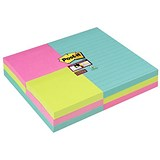 Post-it Super Sticky Combo Notes / Assorted / 76 x 76mm Pack of 6 / 101 x 152mm Pack of 3
