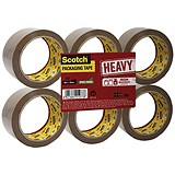 Scotch Heavy Packaging Tape / High Resistance / Hotmelt / 50mmx66m / Brown / Pack of 6
