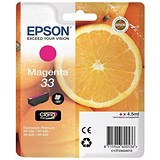 Image of Epson T33 Inkjet Cartridge Page Life 300pp Capacity 4.5ml Magenta Ref C13T33434010