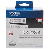 Image of Brother Label Continuous Paper Roll 62mmx15.24M Black and Red on White Ref DK22251