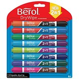 Berol Dual Ended 2 in 1 Drywipe Whiteboard Marker/ Assorted / Pack of 8