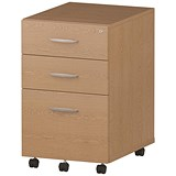 Trexus 3 Drawer Mobile Pedestal / 550mm Deep / Oak