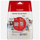 Canon CLI-581InkjetCartridges5.6ml Photo Value Pack B/C/M/Y &5x4in Paper 50 Sheets Ref 2106C005 [Pack 4]