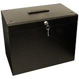 Image of File Box with 5 Suspension Files and 2 Keys Steel A4 Black