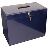 Image of File Box with 5 Suspension Files and 2 Keys Steel A4 Blue