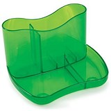 Image of Contemporary Desk Tidy with 4 Compartments - Green