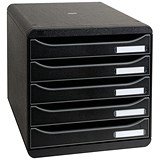 Image of Exacompta Big Box Plus Drawer Set with 5 Drawers / A4+ / Black