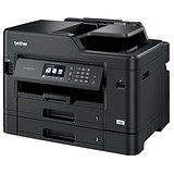 Image of Brother Colour Inkjet Multifunction Printer Wired and Wireless 20ipm A4 Black Ref MFCJ5730DWZU1