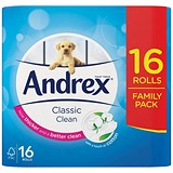 Andrex Classic Toilet Rolls / 2-ply / White / Pack of 16