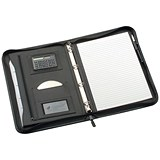 5 Star Zipped Conference 4 Ring Binder with Calculator / W260xH362mm / Black