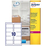 Image of Avery Weatherproof Laser Shipping Labels / 10 per Sheet / 99.1x57mm / L7992-25 / 250 Labels