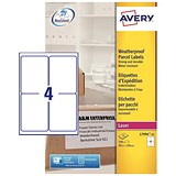 Avery Weatherproof Laser Shipping Labels / 4 per Sheet / 99.1x139mm / L7994-25 / 100 Labels