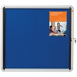 Image of Nobo Indoor Noticeboard with Lockable Glazed Case / Fabric / 6xA4 / W692xH752mm / Blue