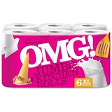 Image of OMG Kitchen Roll / 3-Ply / 80 Sheets per Roll / Pack of 6