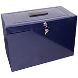Image of Home File with 5 Suspension Files 2 Keys and Index Tabs Steel Foolscap Blue