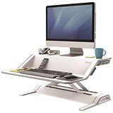 Image of Fellowes Lotus Sit-Stand Workstation Smooth Lift Technology 22 Height Adjustments White Ref 9901