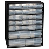 Image of Raaco Cabinet 30-Drawer Steel Frame Wall Mount or Free Stand Stop Catches on Drawers Black Ref 132084