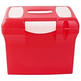 Image of File Box with Suspension Files and Index Tabs Plastic A4 Red